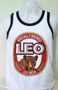 Thai Leo Beer Lager White Singlet Vest Tank Tops size L