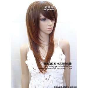 new fashion lady long full straight hair Dark Brown wig
