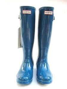 NEW HUNTER RAIN BOOT original tall High gloss TEAL/BLUE women SIZE 8