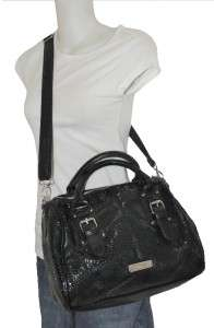 NEW STEVE MADDEN BLACK PYTHON FAUX LEATHER SATCHEL CONVERTIBLE