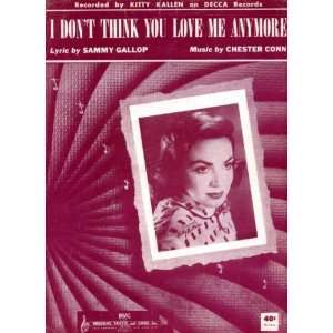 You Love Me Anymore Vintage 1953 Sheet Music Recorded by Kitty Kallen