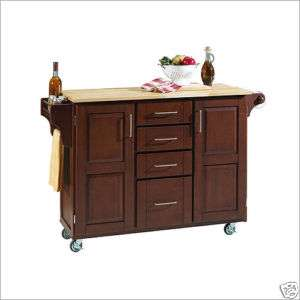 KITCHEN ISLAND CART CHERRY CABINETS w/ NATURAL WOOD TOP