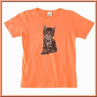 Adorable Charlie Tiger Striped Kitten Kitty Cat WOMENS SHIRTS S,M,L,XL