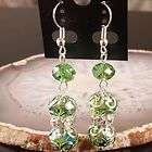 Nice Green Crystal Glass Faceted Bead Dangle Earrings 1