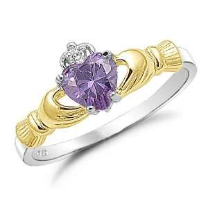 Sterling Silver Two Tone Amethyst CZ Cladagh Ring Sizes 4