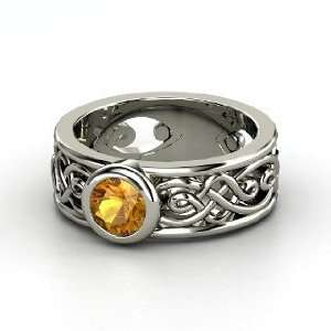 Alhambra Ring, Round Citrine 14K White Gold Ring Jewelry