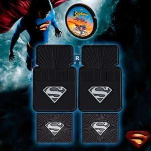 Silver Superman Floor Mat and Steering Wheel Cover Combo
