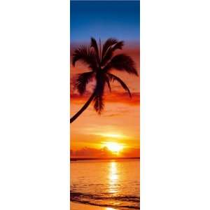 SUNSET PALM TREE PARADISE OCEAN 21x62 POSTER DR18511