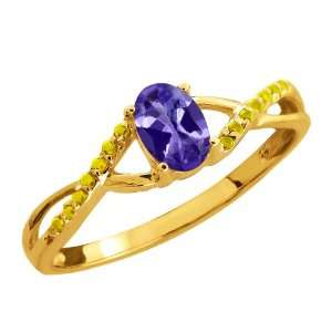 Oval Blue Tanzanite and Canary Diamond 18k Yellow Gold Ring Jewelry