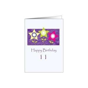 11 year old Birthday , Flower Stars Card: Toys & Games