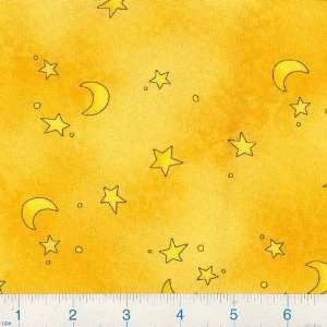 45 Wide Wooly Friends Stars & Moons Gold Fabric By The