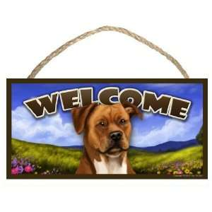 Pitbull (tan) Spring Season 10 x 5 Welcome Wooden Dog Sign