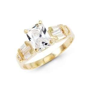 Emerald CZ Cubic Zirconia Anniversary Engagement Ring 14k