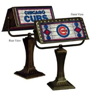 Chicago Cubs Memory Company Team Art Glass Bankers Lamp