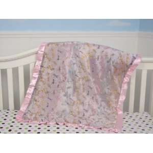 New Boutique Pink Dragonflies Silky Baby Blanket ** FREE