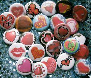 big LOT 1 LOVE buttons badges pins HEART Valentine