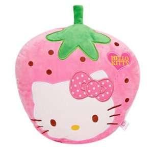 Hello Kitty Pink Strawberry Plush Pillow (approx 18x14