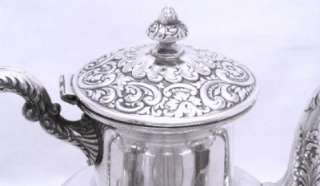 Exquisite Large Heavy Repousse VICTORIAN Silver Tea Set Large Footed