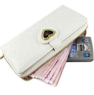 new fashion lady women long white purse wallet zip clutch mobile phone
