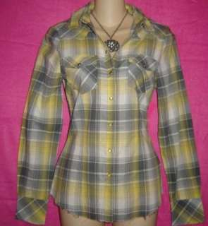 GRAY PLAID Rockabilly PUNK Sexy FITTED TOP SHIRT S NWT