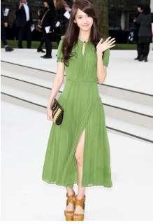 AB134 girl women pleated summer long maxi dress green chiffon size XS