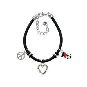 love Soccer   Red Heart   Black Peace Love Charm Bracelet [Jewelry]