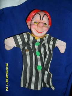 EARLY 1970S CLOWN HAND PUPPET BOZO RUBBER HEAD CLOTH BODY