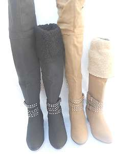 Lady Dressy HighHeel Black Grey Knee High Micro Suede Winter BootS