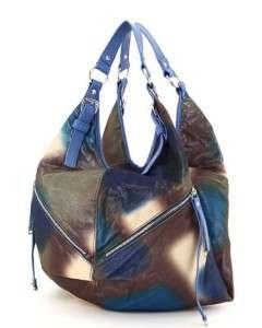 BLUE FRONT ZIPPER ACCENT HOBO BAG WESTERN PURSE HANDBAG
