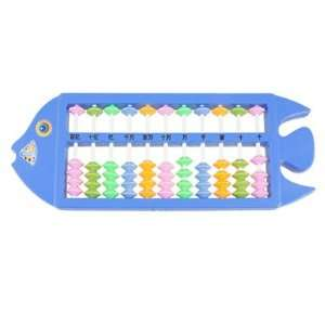 Shaped Plastic Frame Colored Beads Children Calculation Abacus Blue