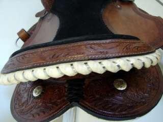 Trail Pleasure Western Saddle 16 Dark Tooled Leather Showman Head SET