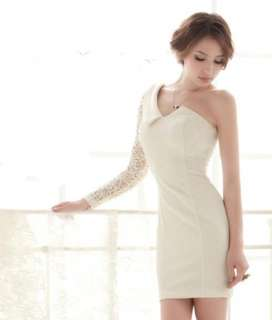 Shoulder Lace Sleeve Bridesmaid Prom Gown Evening Mini Dress
