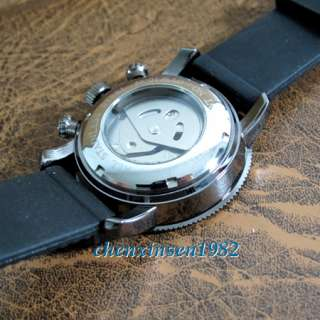 Automatic Mens Mechanical Classic Navy Blue Rubber Strap Wrist Watches