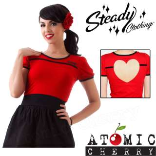 Steady Cut Out Love Heart Top Rockabilly Pin Up Tattoo Retro T Shirt
