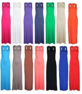 WOMENS LONG JERSEY RACER BACK PLUS SIZE MAXI DRESS WOMENS DRESS 16 18