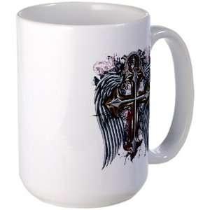 Large Mug Coffee Drink Cup Cross Angel Wings Everything