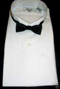 New White Wing Collar Tuxedo shirt w/ Black Tie 2XL