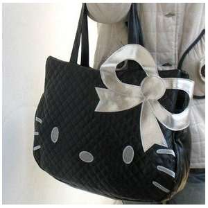 Cute Black Hello Kitty with Silver Bow Style Tote Bag/Handbag/Shopping