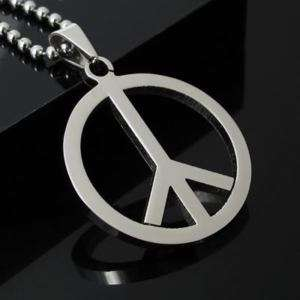 Men Woman Peace Sign Pendant Stainless Steel Necklace