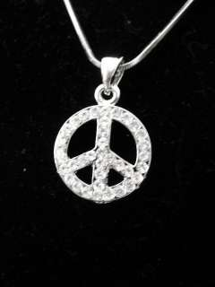 NEW PEACE SIGN NECKLACE SIN HIPPIE PACE SILVER 16 INCH RHINESTONE