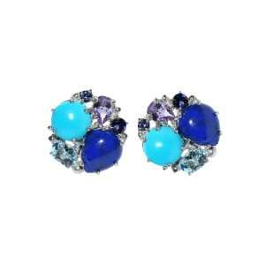 Bouquet Earrings   Button Studs   Turquoise & Lapis ANZIE Jewelry