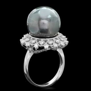 6200 CERTIFIED 14K WHITE GOLD 14MM PEARL 0.70CT DIAMOND RING