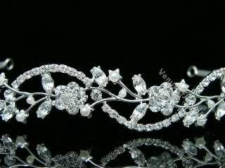 Rhinestone Crystal Pearl Prom Wedding Headband Tiara 8596