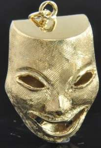 Estate Vintage 14K Yellow Gold Comedy Tragedy Drama Mask 3D Charm