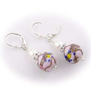 Italian Glass Swarovski Crystal Sterling Silver Earrings Jewelry
