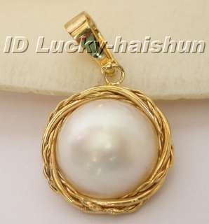 19mm South Sea white Mabe Pearl necklace pendant 14KT
