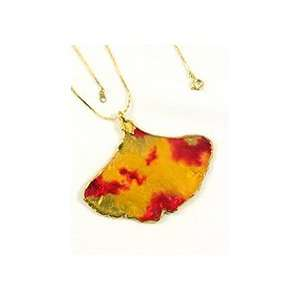 REAL LEAF Ginkgo Leaf Necklace Pendant Deep & Chain