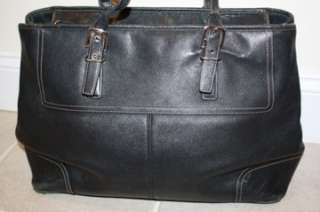 Black Hamptons Leather Business Travel Bag Tote 5131 X Large AUTHENTIC