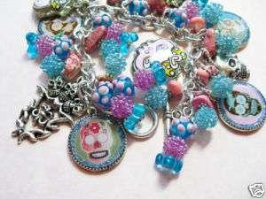 SUGAR SKULLS Altered Art Charm Bracelet Jewelry
