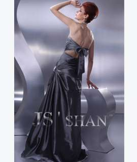 JSSHAN Halter Ruched Long Prom Ball Gown Formal Dress